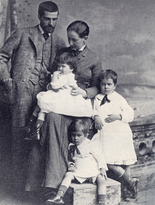 Louis Comfort Tiffany and his wife, Mary, with their children Hilda, Charles, and May