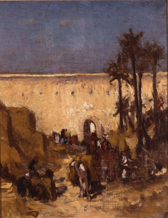 North African Scene with City Wall