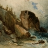 Sea shore with large boulders